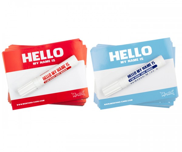 "Montana ""Hello my name is…"" Sticker Packs + Red & Light Blue"
