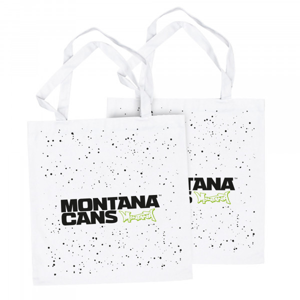 Montana Typo-Logo+Stars Cotton Bag - White