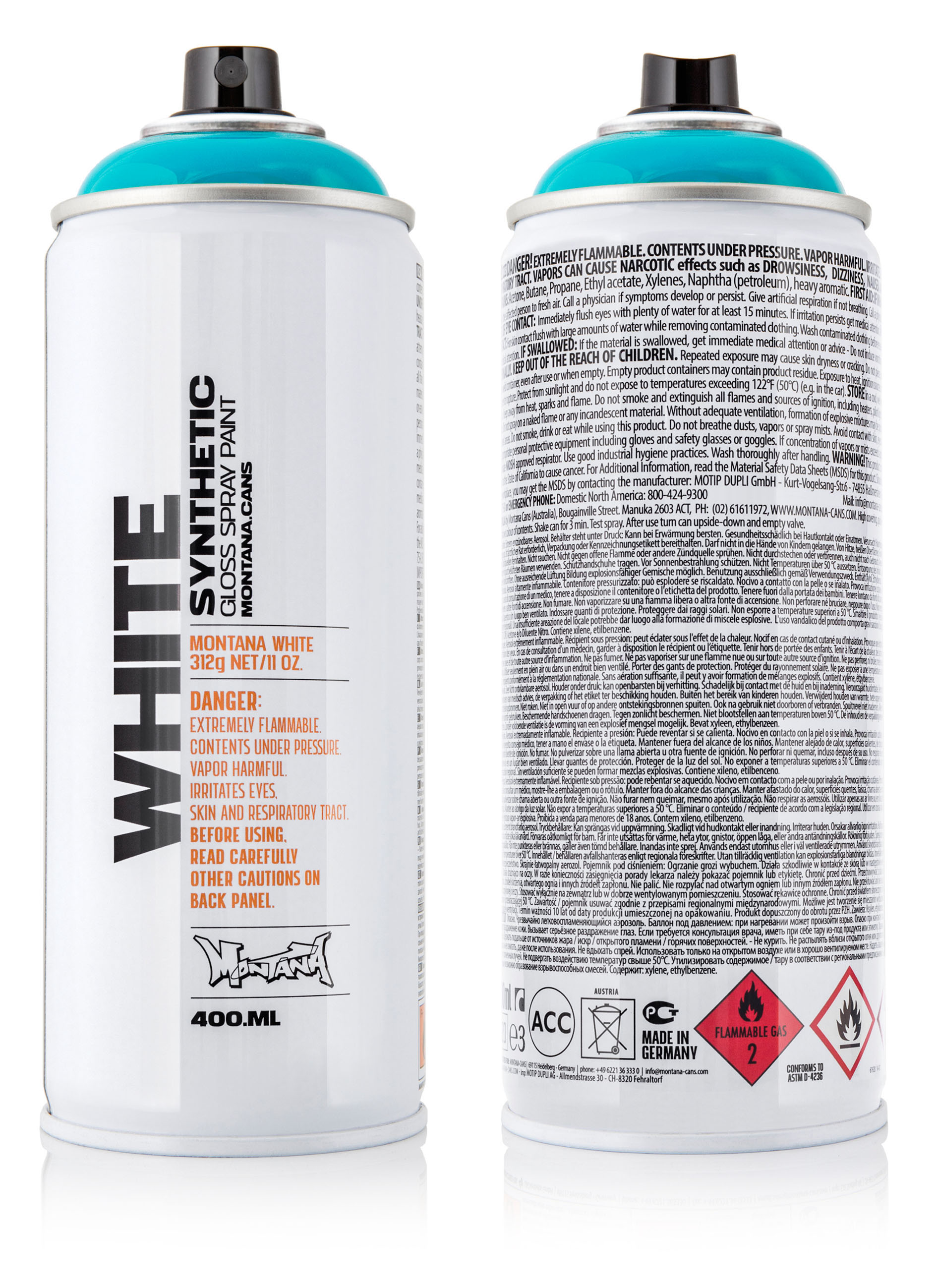 Montana White Spray Paint 400ml | MONTANA-CANS - Highest Quality
