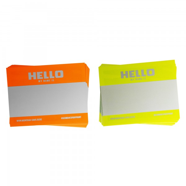 "Montana ""Hello my name is…"" Sticker Packs + Neon Orange & Neon Yellow"